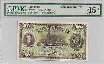 P-27a 1930 20 Litu, Lithuania, Commemorative, PMG 45EPQ