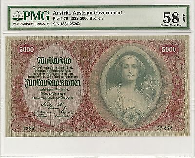 P-79 1922 5000 Kronen, Austrian Government,  PMG 58EPQ, Extremely Nice!