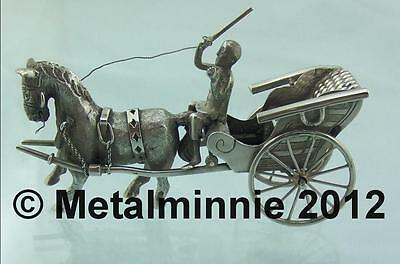 Chinese Export Silver Miniature Of A Man, Horse And Cart By Cumwo