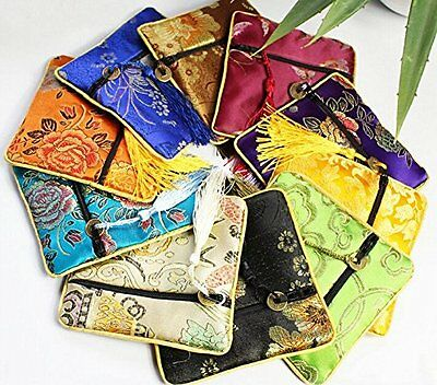 jenifer2015 Assorted Color Oriental Silk Embroidered Brocade Zipper Jewelry Coin
