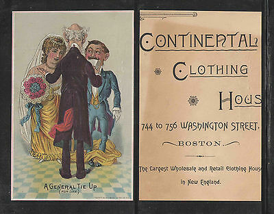 1880s CONTINENTAL CLOTHING HOUSE A GENERAL TIE UP HUMOROUS VICTORIAN TRADE CARD