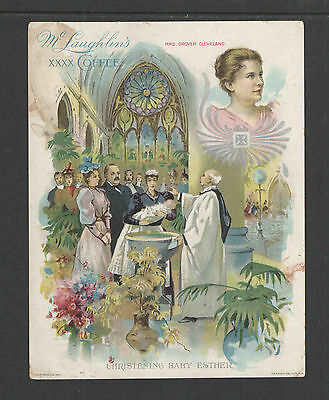 1880s McLAUGHLINS COFFEE MRS GROVER CLEVELAND + PREISDENT VICTORIAN TRADE CARD