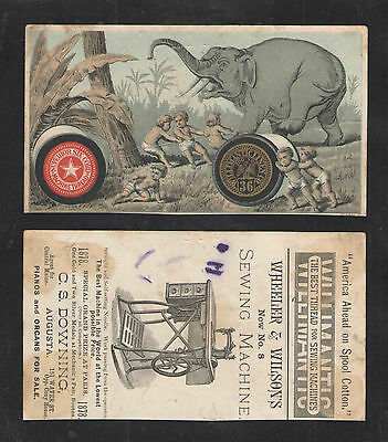 1880s WILLIMANTIC SEWING THREAD     JUMBO THE ELEPHANT     VICTORIAN TRADE CARD