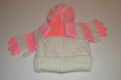 NWT Girls for Justice Pink  Hat and Gloves Set One Size Fits All