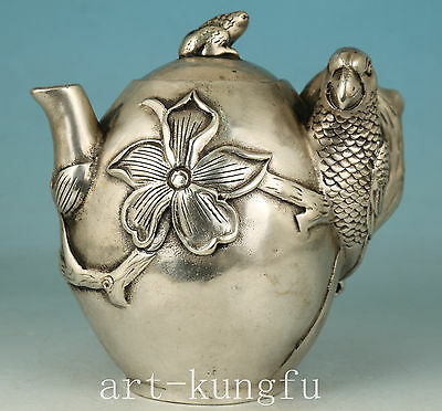 Chinese Copper Collection Handmade Carved Parrot Statue Tea Pot