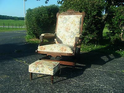 Antique~ Eastlake rocking chair~carved Mahogany ~Victorian Rocker With Stool