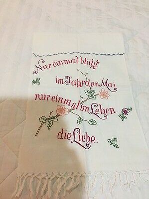 Vintage Antique German Towel Multi Color Embroidery