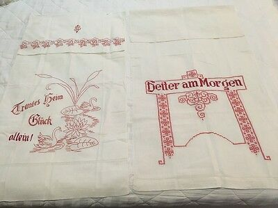LOT Of 2 Vintage Antique German Towel Red Work Embroidery Cross Stitch