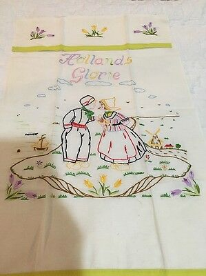 Vintage Antique From Holland Towel Multi Color Embroidery Hollands Gloria Glory