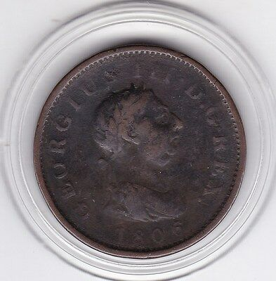 1806  King  George   III   Large  Penny  (1d)   Copper   British  Coin