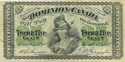 DOMINION OF CANADA 25 CENTS 1870 ISSUE ~ DC-1c ~ VERY NICE GRADE SUPER COLOR