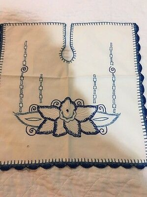 German  Sink Cover Vintage Antique Blue Work Embroidery
