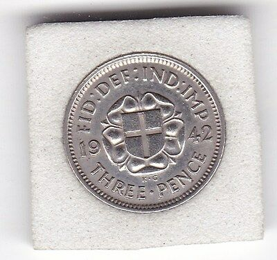 Sharp  1942  King   George  VI  Threepence  (3d)  Silver  (50%)  Coin