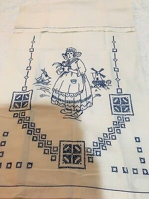 Delft Blue Vintage Antique Towel Blue Work Embroidery German