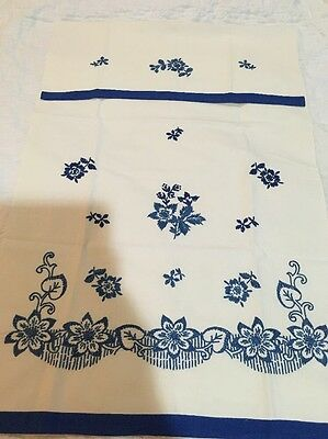 Delft Blue Vintage Antique Towel Blue Work Embroidery