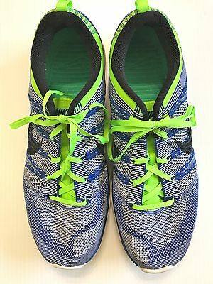 Mens NIKE FLYKNIT ONE size 11.5 blue white green PLUS + enabled running shoes