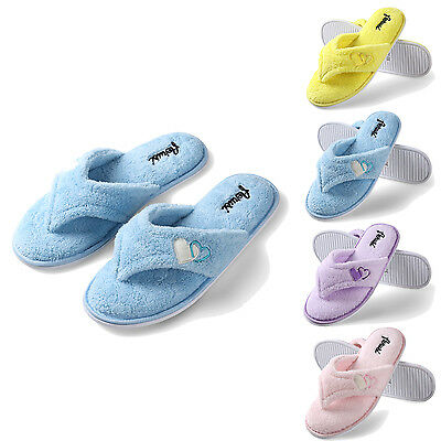 Aerusi Women Cozy Spa Slippers Anti-Slip Thong Plush Fluffy Indoor House Shoes