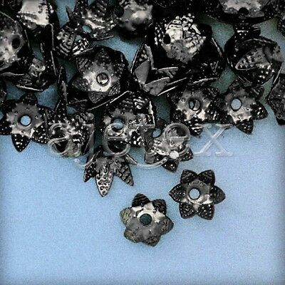 About144pcs Metal Cone Beads Caps Jewelry Finding 7x7x3.5mm Gun Metal Black