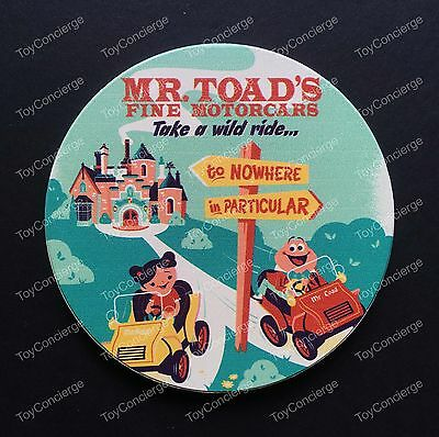 DISNEY Parks COASTER Attraction RETRO ART Coaster MR TOAD's WILD RIDE - NEW