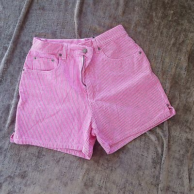 Vintage 90s Bill Blass Shorts High Waist Mini Pink Gingham Cotton Mom Jeans Sz 6