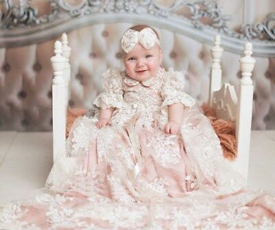 Long Baptism Gown Outfit Lace White Ivory Christening Dress New +Bonnet/Headwear