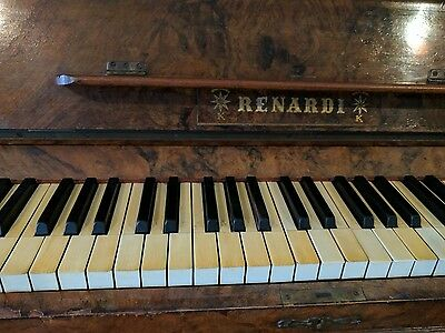 Renardi Upright Piano, walnut wood panelling and stool.  Good condition.
