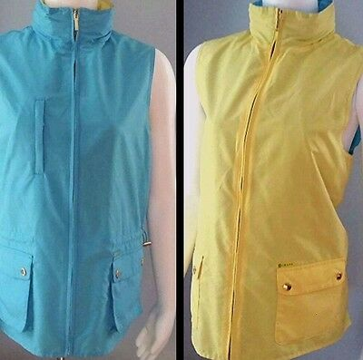 Nearly New Womens Ralph Lauren Chaps Reversible Yellow Turquoise GOLF VEST Small