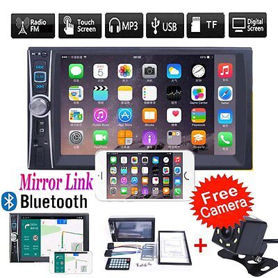 7'' 2DIN Bluetooth Touch Car Stereo Audio MP3 Player FM Radio MirrorLink +Camera