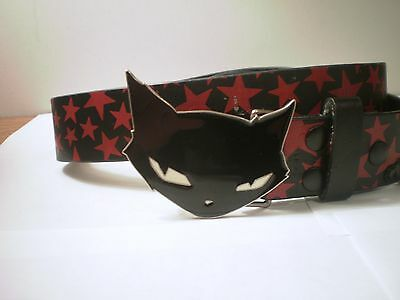 Gothic Emily The Strange Black Cat Belt Buckle on Black Belt Red Stars & Chain