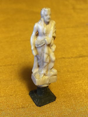 """Antique 1.75"""" Carved Colonial/17th c. Statesman Figurine Wax Seal: Initials A.C."""