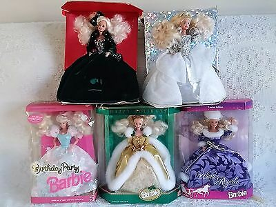 Lot of 5 Special Edition Barbie Dolls