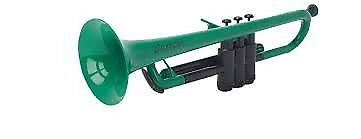 PLASTIC TRUMPET Green WITH BAG & MOUTHPIECES pTRUMPET