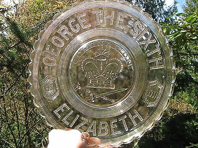 1937 George the Sixth & Queen Elizabeth Coronation plate~pressed glass~Britain~