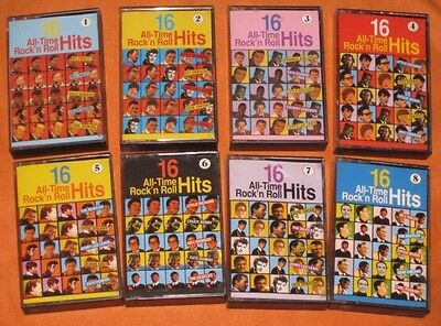 Lotto 8 musicassette 16 ALL-TIME ROCK'N ROLL HITS - ANNI 60/70 INTERNATIONAL
