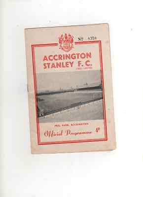 1961-62 Last Home Issue ACCRINGTON STANLEY v BRADFORD CITY 3 Feb 1962 Division 4