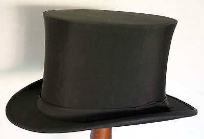 "FABULOUS ANTIQUE CORDED SATIN SILK OPERA TOP HAT BRILL BROS. NY 22"" 56cm SMALL"
