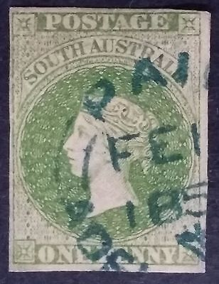 Rare 1858- South Australia 1 d Yellow Green Imperf First Sideface Stamp Used