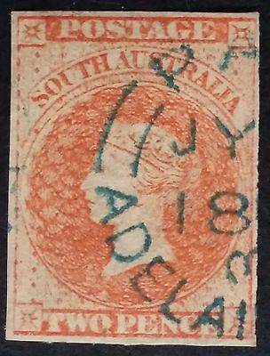 Rare 1858- South Australia 2 d Orange Red Imperf First Sideface Stamp Used