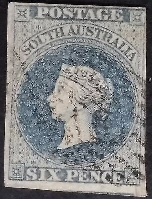 Rare 1857- South Australia 6 d Slate Blue Imperf First Sideface Stamp Used