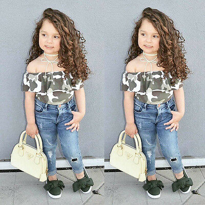 2pcs Kids Girl Off Shoulder Camo Tops Jeans Denim Pants Outfits Clothes US Stock