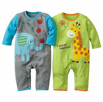 US Stock Infant Baby Girl Boys Clothes Bodysuit Cartoon Romper Outfit Jumpsuit