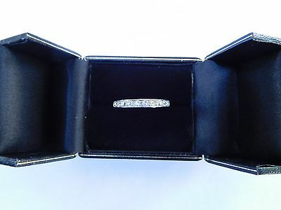 Rare Early 1900s French Art Deco Platinum Diamonds Eternity Ring ! US Size 7 3/4