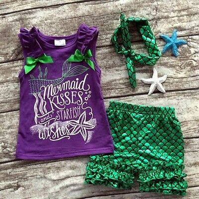 US Toddler Kids Baby Girl Mermaid Clothes Tank Tops+Pants+Headbands Outfits Set