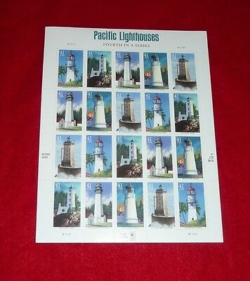 PACIFIC LIGHTHOUSES US  .41 cent Sheet  of 20 Stamps 4146-50