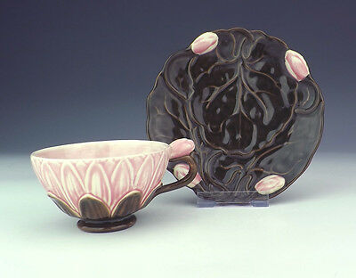 Antique Zsolnay Hungarian Pottery - Flower Formed Cup & Saucer - Art Nouveau!