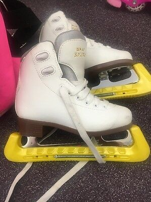 Graf Bolero White Leather Ice Skates With Bag And Guard Size 31 Uk 1