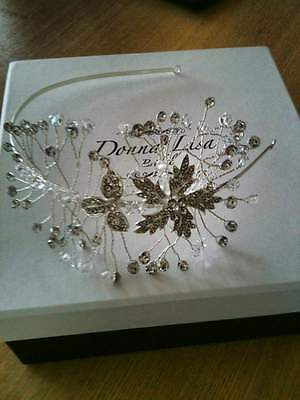 Vintage Style Bridal Side Headband / Tiara, Crystal Diamante Wedding