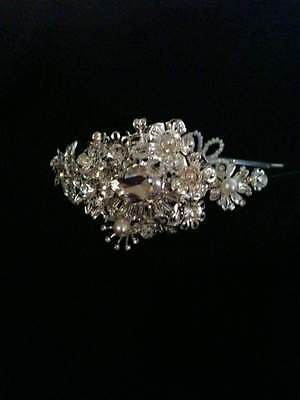 Vintage Style Bridal Side Headband  Tiara, Crystal Diamante Pearl Wedding
