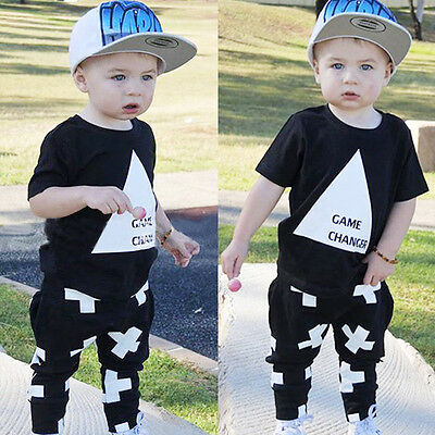 US Cotton Newborn Toddler Kids Baby Boy Clothes T-shirts Tops+Pants Outfits Set