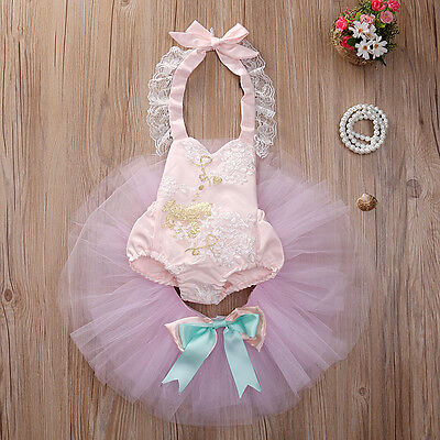 Toddler Baby Girl Romper+Lace Skirt Brithday Party Gown Outfit Set Dance Clothes